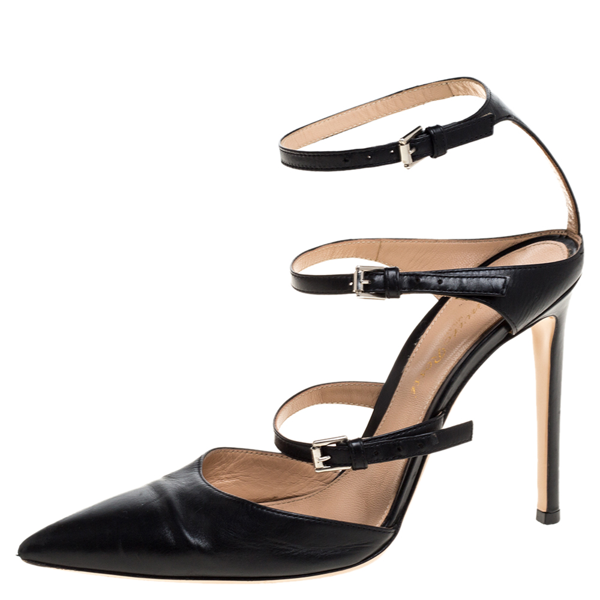 Pre-owned Gianvito Rossi Black Leather Carey Triple Ankle Strap Pumps Size 36