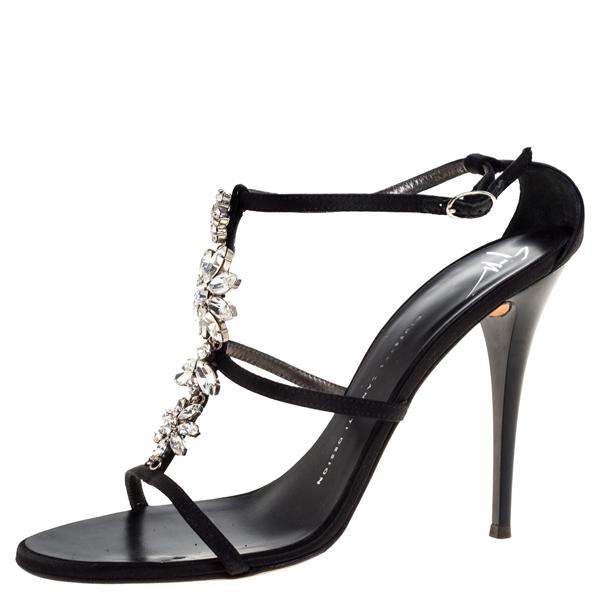 Pre-owned Giuseppe Zanotti Black Satin Crystal Embellished Strappy Sandals Size 37