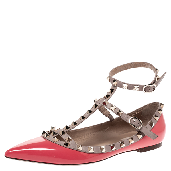 Pre-owned Valentino Garavani Pink Patent Leather Rockstud Strappy Ballet Flats Size 39.5