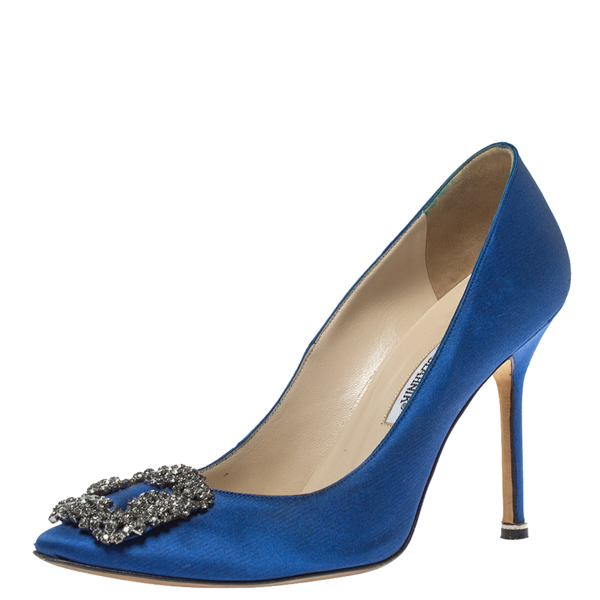 Pre-owned Manolo Blahnik Bllue Satin Hangisi Crystal Embellished Pumps Size 38.5 In Blue