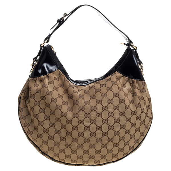 Pre-owned Gucci Beige/black Gg Canvas And Patent Leather Medium Full Moon Hobo