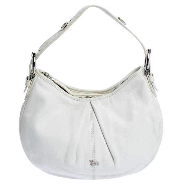 Pre-owned Burberry White Leather Small Malika Hobo
