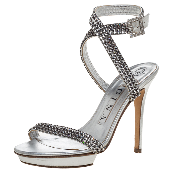 Pre-owned Gina Metallic Silver Crystal Embellished Leather Cross Ankle Strap Sandals Size 35