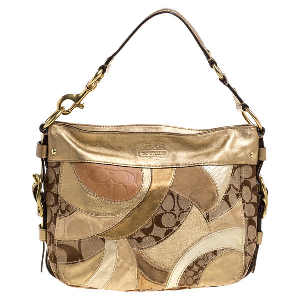 Pre-owned Coach Beige/metallic Signature Patched Canvas And Leather Hobo