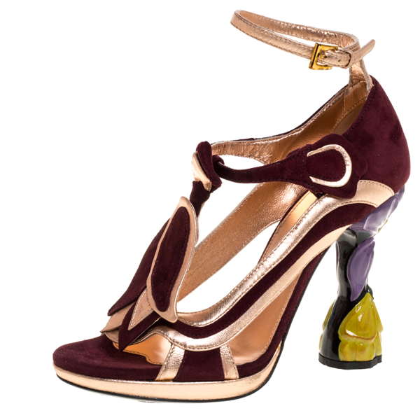 Pre-owned Prada Metallic Rose Gold/burgundy Suede And Leather Fairy Collection Peep Toe Pumps Size 38 In Multicolor