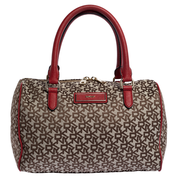 Pre-owned Dkny Beige/red Signature Canvas And Leather Boston Bag
