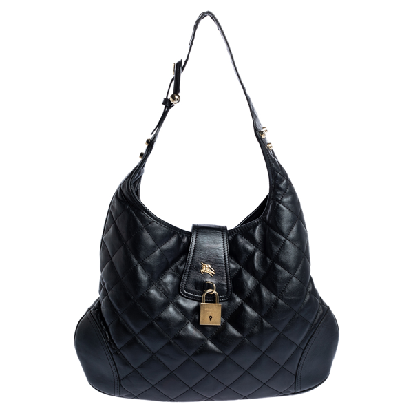 Pre-owned Burberry Black Quilted Leather Brooke Hobo