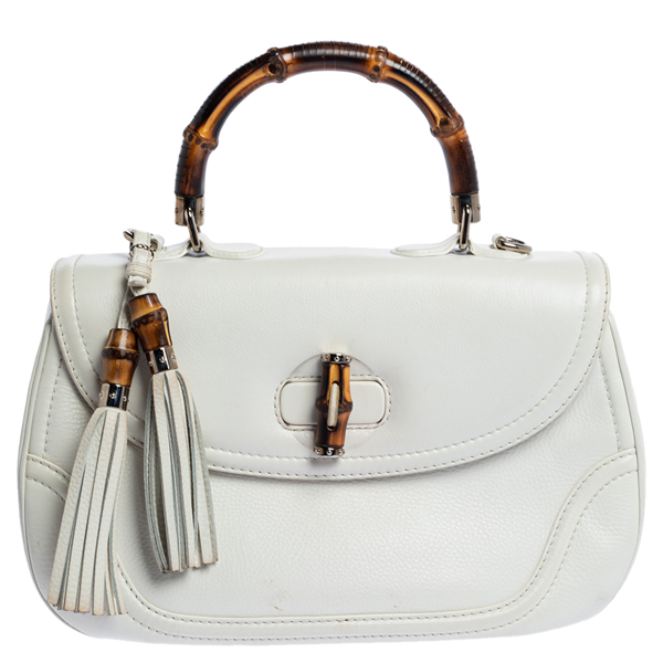 Pre-owned Gucci White Leather Large New Bamboo Tassel Top Handle Bag