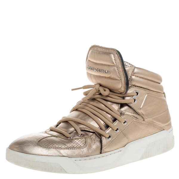 Pre-owned Dolce & Gabbana Metallic Gold Leather Flag High Top Sneakers Size 43