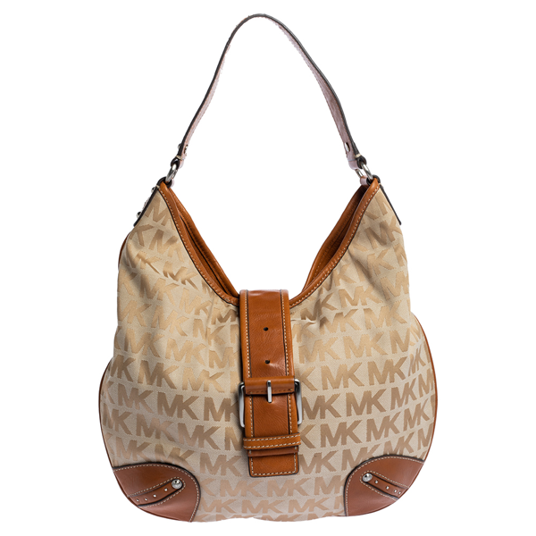 Pre-owned Michael Michael Kors Beige/tan Signature Canvas And Leather Hobo