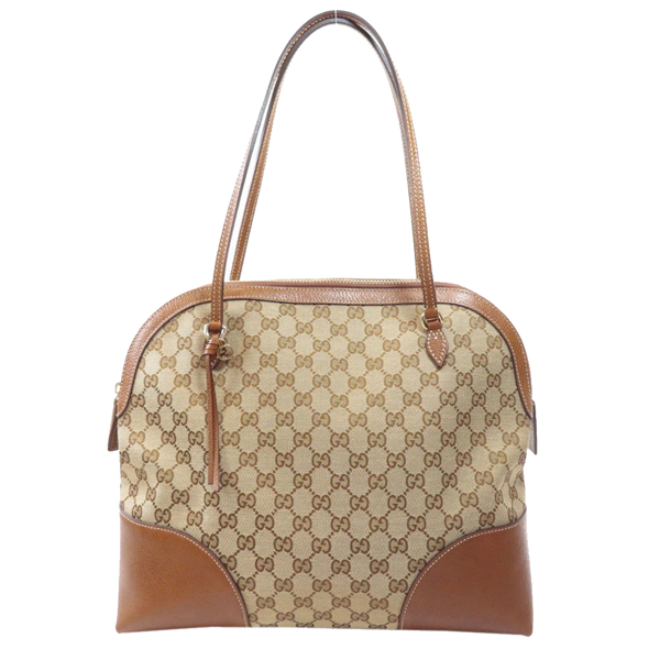 Pre-owned Gucci Brown Gg Canvas And Leather Bree Bag