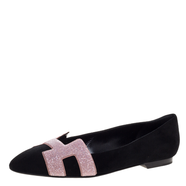 Pre-owned Hermes Black Suede And Pink Crystal Powder Nice Ballet Flats Size 37