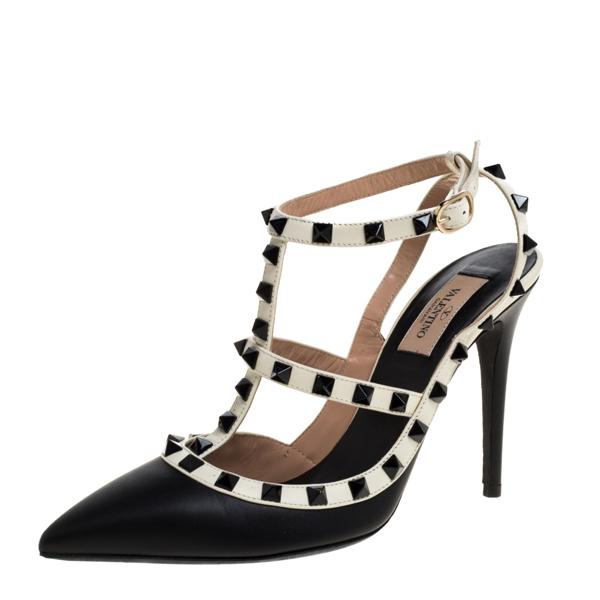 Pre-owned Valentino Garavani Black Leather Rockstud Ankle Strappy Sandals Size 39