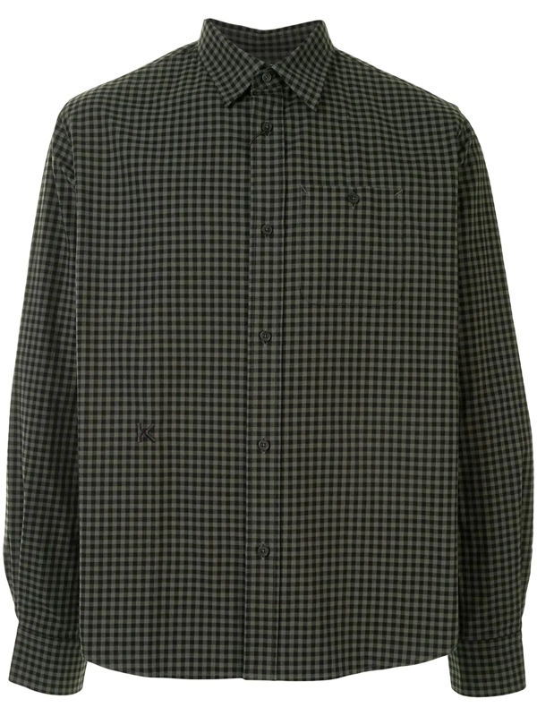 Kenzo Relaxed Check Pattern Shirt In Green