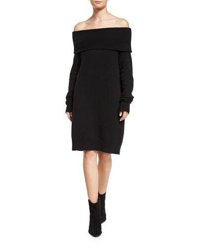 T By Alexander Wang Long-Sleeve Knit Off-The-Shoulder Shift Dress, Black