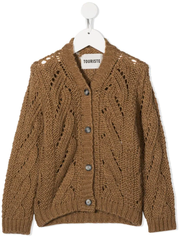 Touriste Kids' Trucco Cable-knit Cardigan In Brown