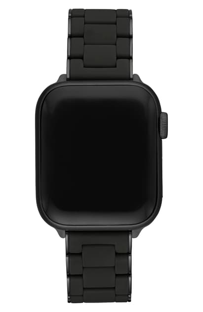 Michele Apple Watch Wrapped Silicone Bracelet Strap In Black