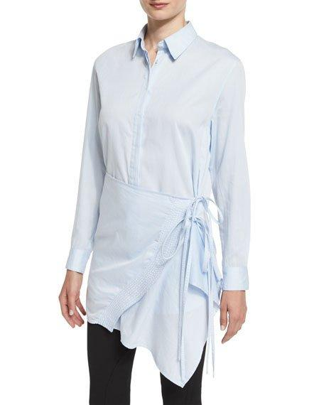 3.1 Phillip Lim Long-Sleeve Poplin Apron Top, Light Blue