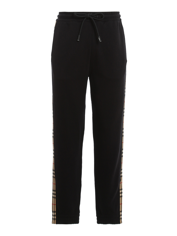 Burberry Checkford Tracksuit Bottoms In Black
