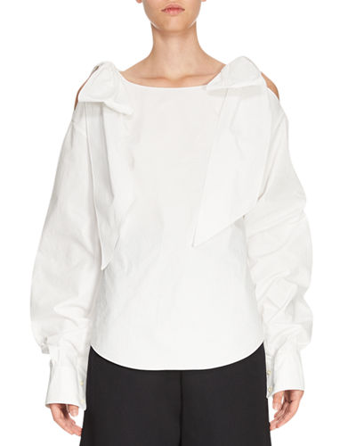 ChloÉ Bow Cold-Shoulder Blouse, White