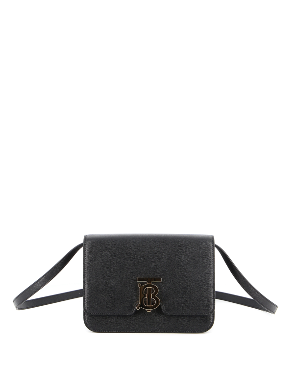 Burberry Tb Small Grainy Leather Bag In Black