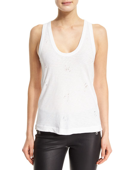 Zadig & Voltaire Deep Holes Jersey Tank, Blanc In Blanc/Argent