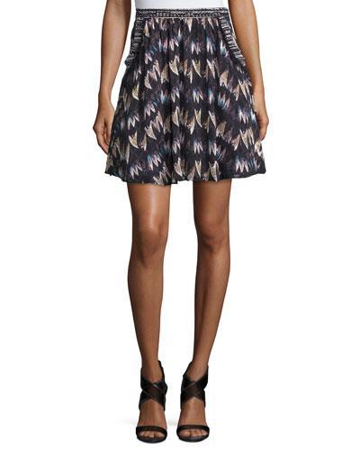 Diane Von Furstenberg Army Of Hearts Tweed-Trim Silk Miniskirt, Wild Rose/Tan In Army Of Hearts Wl