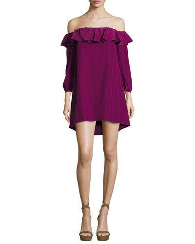 Amanda Uprichard Joanna Off-The-Shoulder Crepe Dress In Purple