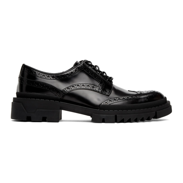 Versace Black Leather Brogues In D41 Black