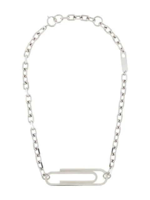 Off-white Xl Paperclip Necklace In Silver