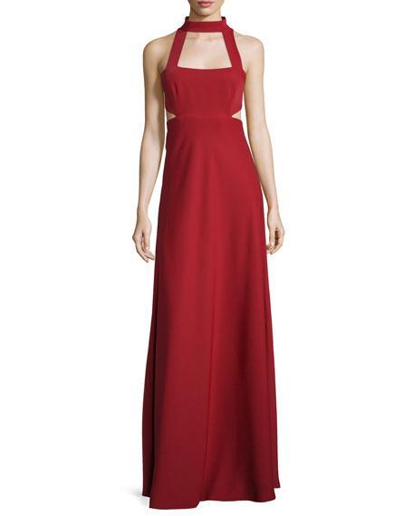 Jill Jill Stuart Sleeveless Cutout Georgette Gown, Redwood