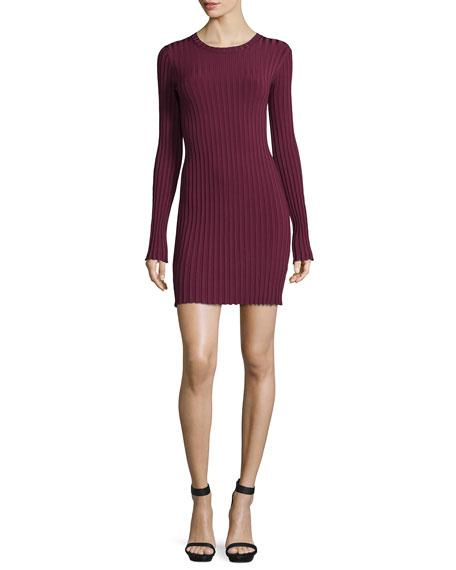 Elizabeth And James Penny Long-Sleeve Ribbed Bodycon Dress, Bordeaux