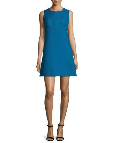 Milly Sleeveless Sweetheart-Illusion Twill Mini Dress, Azure