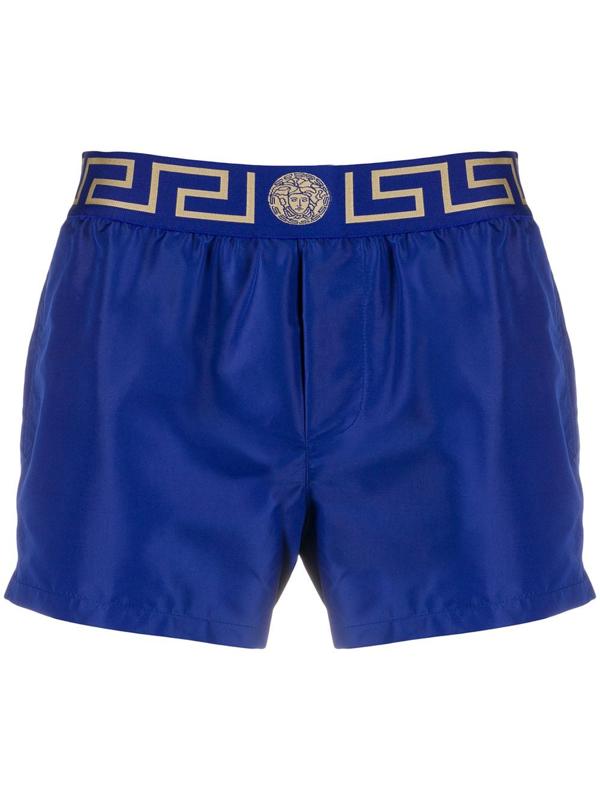 Versace Men's Mid-length Greek Key Swim Shorts In Bluette/ Gold