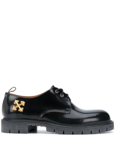 Off-white Men's Arrow Chunky Leather Derby Shoes In Black