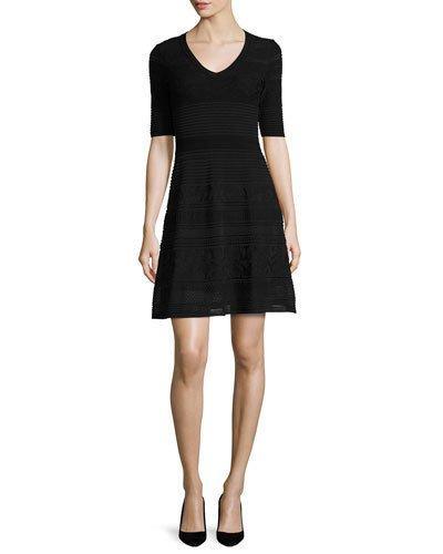 M Missoni Short-Sleeve Mix-Stitched A-Line Dress, Black
