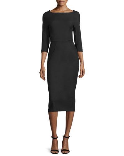 Lela Rose Audrey Elbow-Sleeve Dress, Black