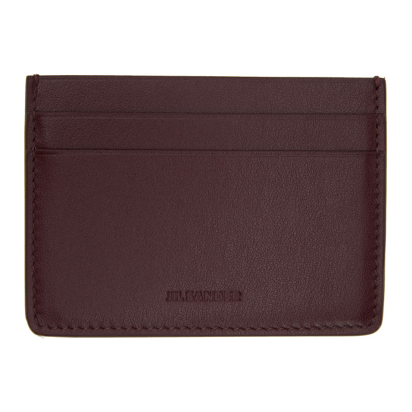 Jil Sander Men's Jsmr840058mrs008n602 Red Leather Card Holder In 602 Dkred