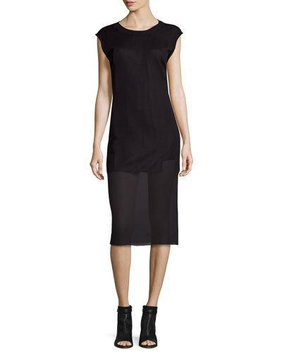 Public School 'Stripe Serat' Sleeveless Merino Wool Blend Rib Knit Dress In Black