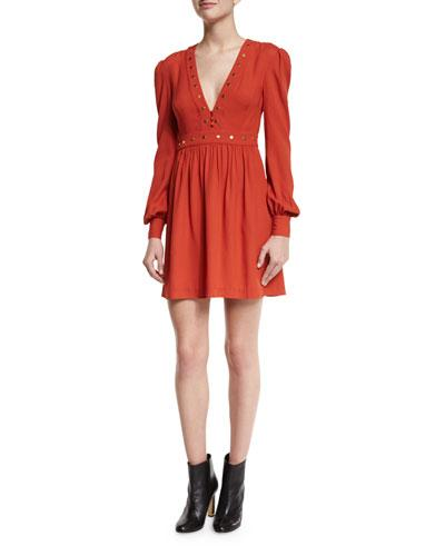 Rachel Zoe Neda Studded Long-Sleeve Dress In Orange