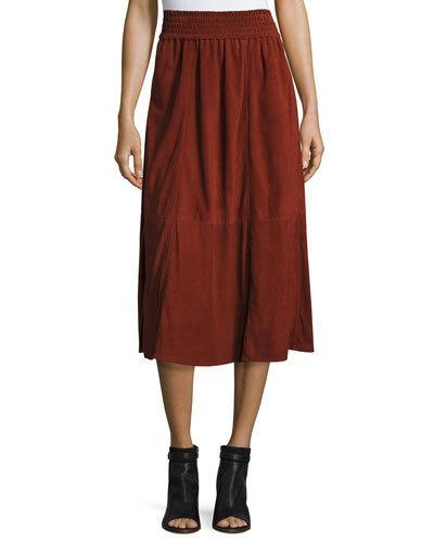 Apiece Apart Mina Suede Midi Skirt, Red Rocks