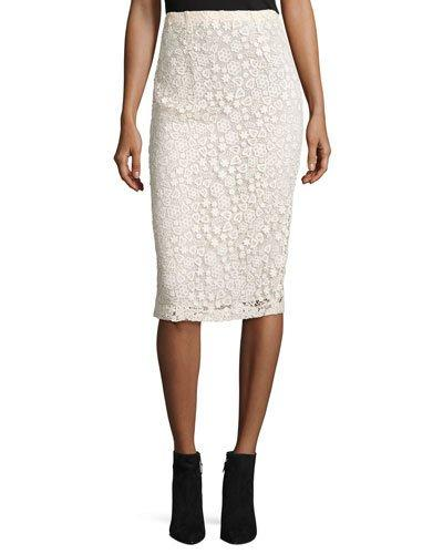 Red Valentino High-Rise Floral Macrame Pencil Skirt, Ecru In Black