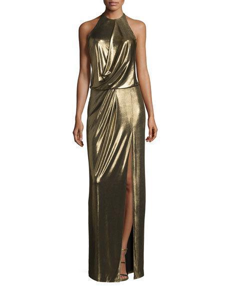 Halston Heritage One-Shoulder Metallic Jersey Column Dress, Bronze