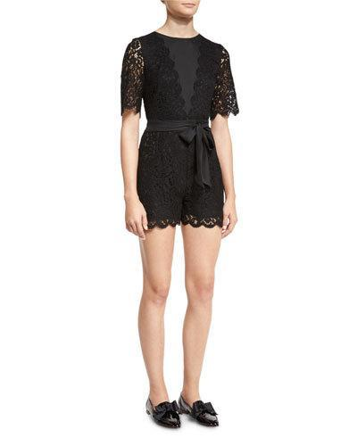 Rachel Zoe Bennie Lace Tie-Waist Romper In Black