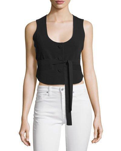 Cinq À Sept Minou Bicolor Vest & Shirt Combo Top In Black/Ivory