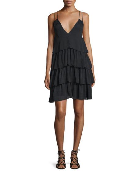 Apiece Apart Canyons Tiered Silk Dress, Black