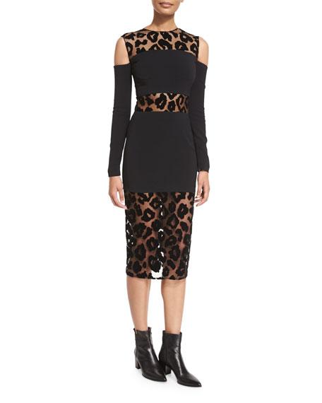 Mugler Leopard-Burnout Cold-Shoulder Dress, Black