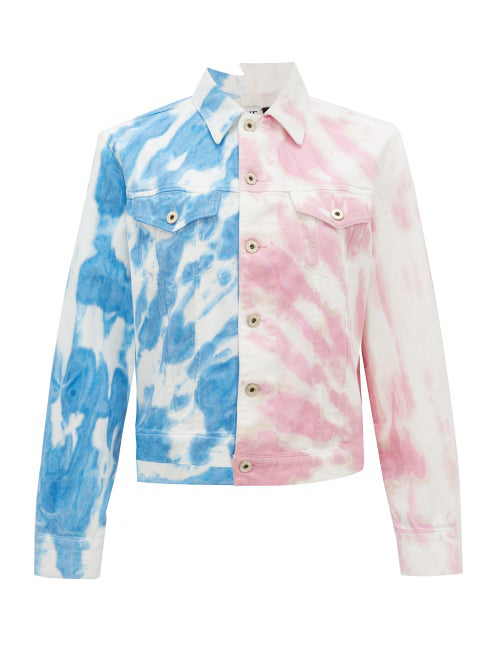 Loewe 'paula's Ibiza' Asymmetric Contrast Tie Dye Denim Jacket In Multi
