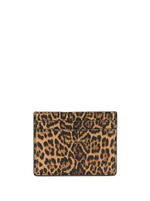 Saint Laurent Leopard-print Leather Card Holder In Brown