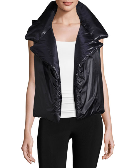 Norma Kamali Sleeping Bag Open-Front Puffer Vest In Black